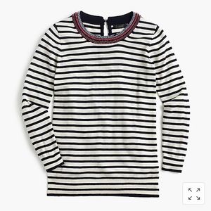 J Crew Tippi Striped Beaded Sweater Sz Small